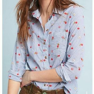 Maeve floral embroidered pin stripe blouse
